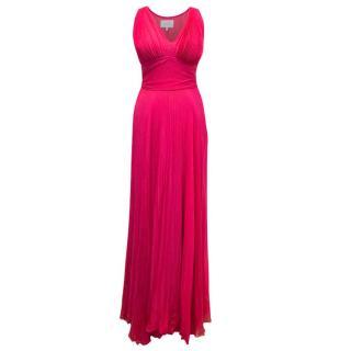 Luisa Beccaria Pink Silk Pleated Maxi Dress