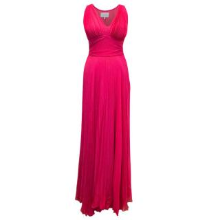 Luisa Beccaria Pink Silk Pleated Maxi Dress