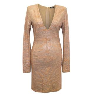 Balmain Rose Gold Encrusted Lond Sleeved Dress