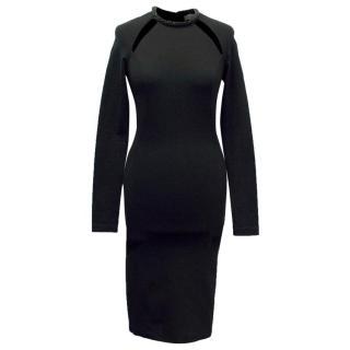 Stella McCartney Black Bodycon Dress with Embellished Neckline