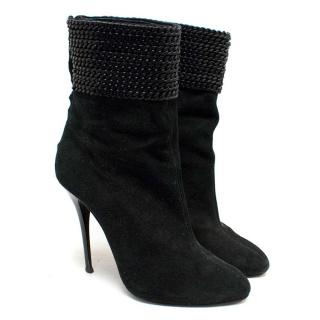 Giuseppe Zanotti Black High-Heeled Suede Boots with Chain Detailing