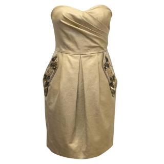 Matthew Williamson Gold Sweetheart Dress with Embellishments