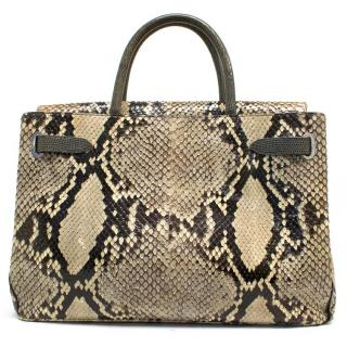 Asprey 'Darcy' Python Tote Bag with Lizard Handles