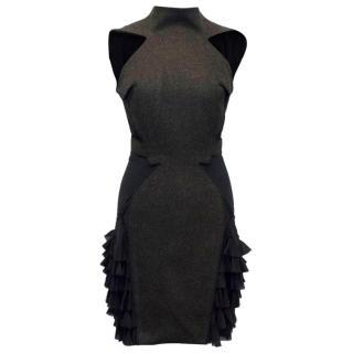 Zac Posen Grey Dress with Black Ruffle Details