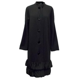 Lanvin Black Coat with Silk Draping