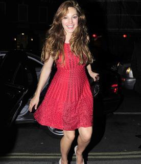 Alaia Red Textured Skater Dress
