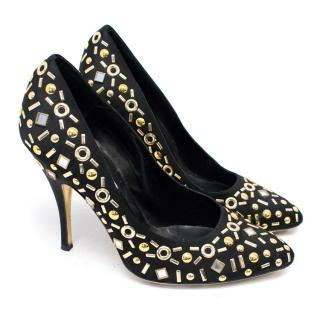 Moschino Black Pumps With Gold Beaded Embellishments