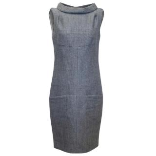Chanel Grey Sleeveless Wool Dress with High Neck
