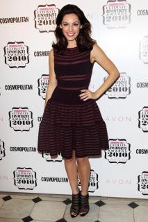 Alaia Plum Knit Stripe Dress with Full Skirt
