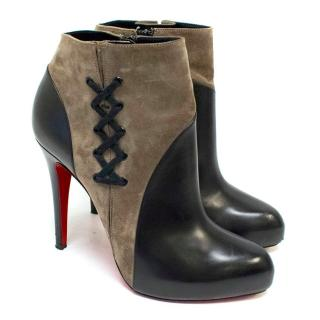 Christian Louboutin Khaki Suede & Black Leather Lace-Up Boots