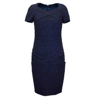 Chanel Navy & Black Tweed Wool Blend Pencil Dress