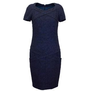 Chanel Navy & Black Tweed Wool Blend Pencil Dress