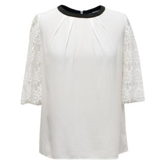 Claudie Pierlot White Top With Lace Sleeves