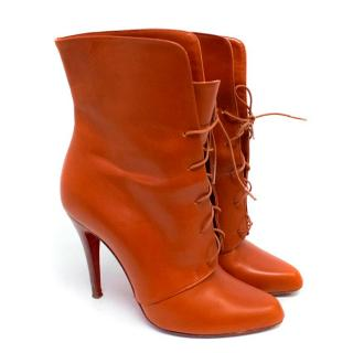 Christian Louboutin Burnt Orange Lace Up Booties