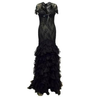 Belville Sassoon Black Evening Gown