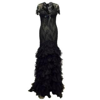 Belville Sassoon Black Evening Gown
