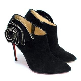 Christian Louboutin Black Suede Booties with Zip Flower