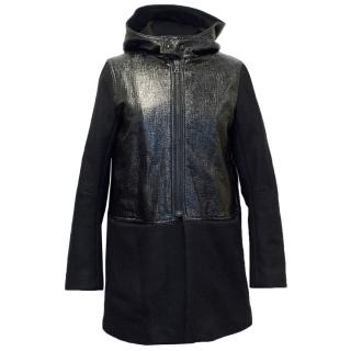 Sandro Black Coat With Hood And Patent Panel