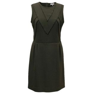 Sandro Dark-Green Sleeveless Chain Trim Dress