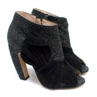 Miu Miu Black Glitter and Suede Peep-Toe Booties