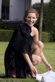 Marchesa Black One Shoulder Dress with Flower Detail