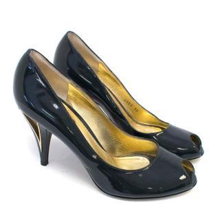 Dolce & Gabbana Black Patent Leather Peep-Toe Heels
