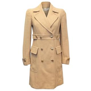 Stella McCartney Tan Tweed Double Breasted Coat