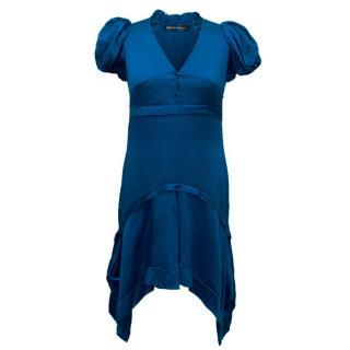 Balenciaga Blue Silk Short Sleeve Dress