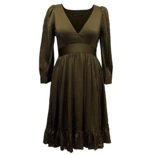 Balenciaga Olive Green Silk Dress with 3/4 Sleeves