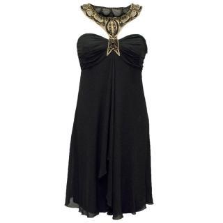 Temperley Black Silk Dress with Embellished Halter Neck