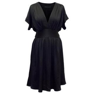 Balenciaga Black Silk Short Sleeve Dress with Tie Waistband