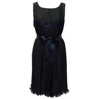 Didier Ludot Black Pleated Dress with Satin Bow Waist Tie
