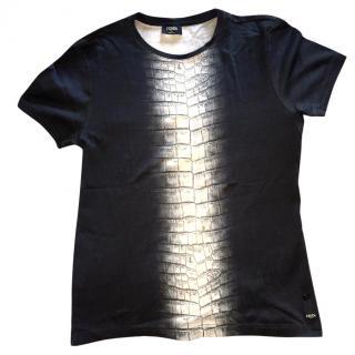 Fendi Men's Crocodile Print Tshirt