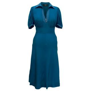 Azzaro Teal Silk Midi Dress with Neckline Embellishment