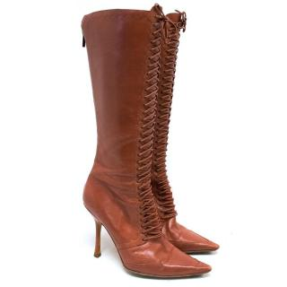 Jimmy Choo Red Brick Lace Up Pointed Boots