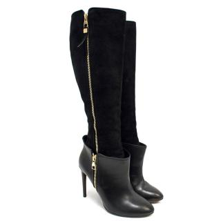 Louis Vuitton Black Knee High Suede And Leather Boots
