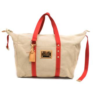 Louis Vuitton Beige Canvas Bag With Red Straps