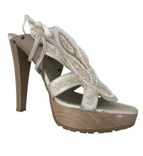 Stella McCartney Wooden Embroidered Heels
