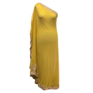 Marchesa Yellow One Shoulder Embellished and Mesh Gown