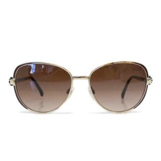 Chanel Brown Sunglasses with Flower Embellished Arms