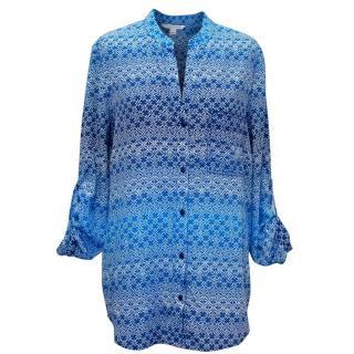 Diane von Furstenberg Blue Patterned Blouse