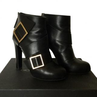 Gianmarco Lorenzi Black Leather ankle boots