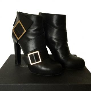 Gianmarco Lorenzi Black Leather ankle boots