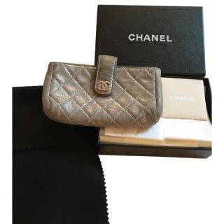 Chanel Metallic Silver Pouch