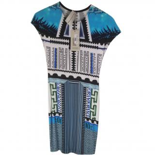 Mary Katrantzou Blue White and Black Dress