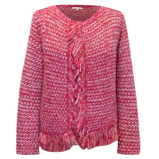 Maje Red, Pink, and White Knit Cardigan