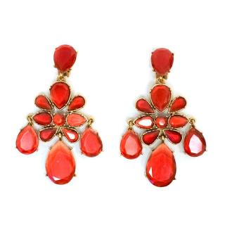 Oscar de la Renta red drop clip on earrings