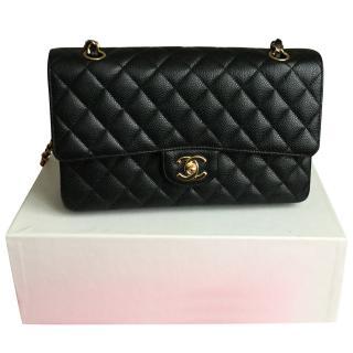 Chanel Black Caviar 10 inch Medium Classic Double Flap Bag
