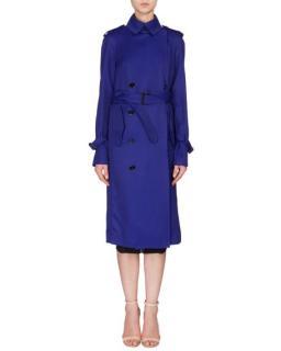 Victoria Beckham trench coat in deep cobalt gabardine
