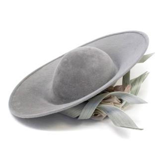 Phillip Treacy Grey Up Turned Velour Hat with Flower Detail